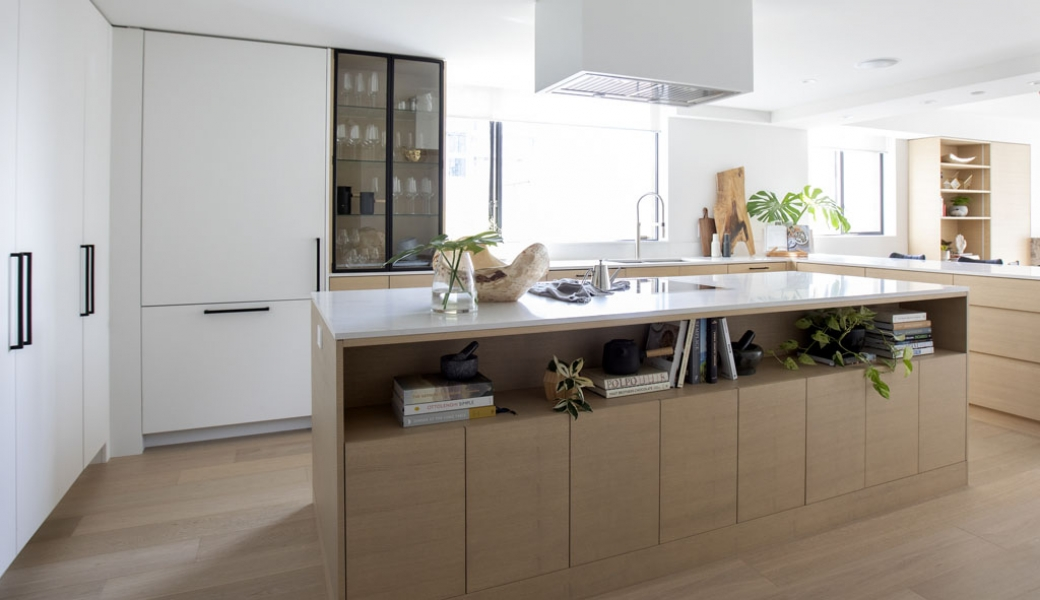 Beautiful kitchen Island in the Hornby Street Condo Remodel by Vertical Grain Projects and Millwork